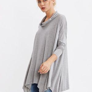 Tops - Grey Cowl Neck Long Sleeve Tee